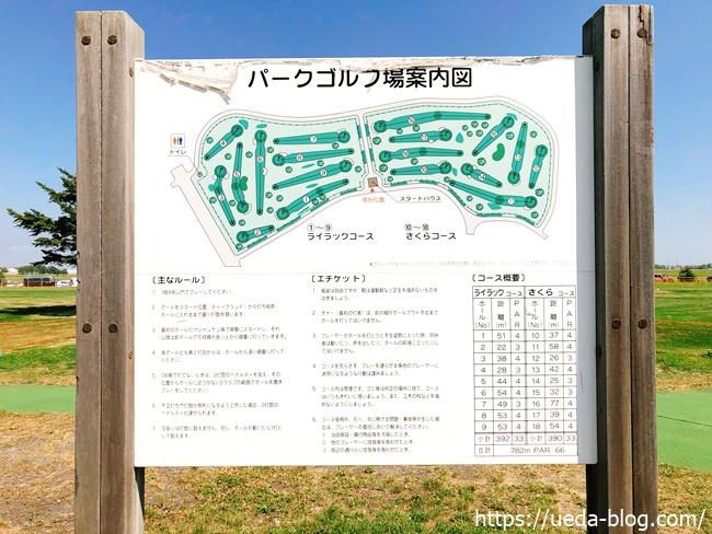 つどーむパークゴルフ場のコース案内図