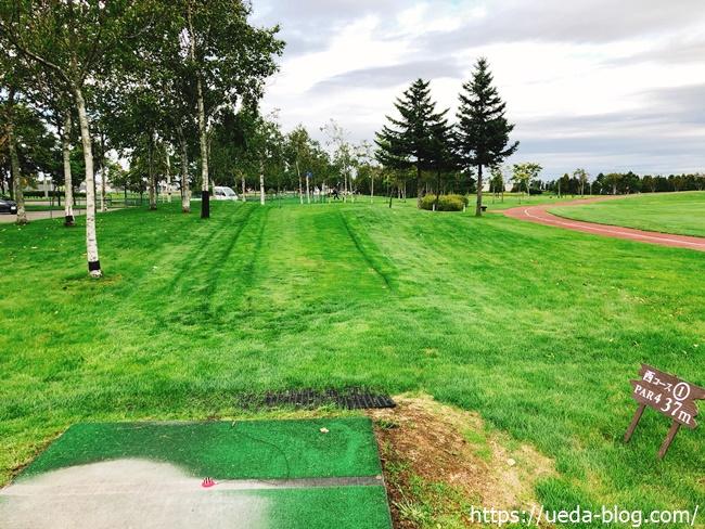 長沼町総合公園パークゴルフ場のフェアウェイは極端に狭い