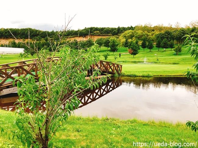 コースの池を横切る橋