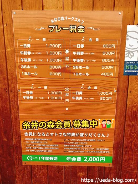 糸井の森パークゴルフ場のプレイ料金,利用料金