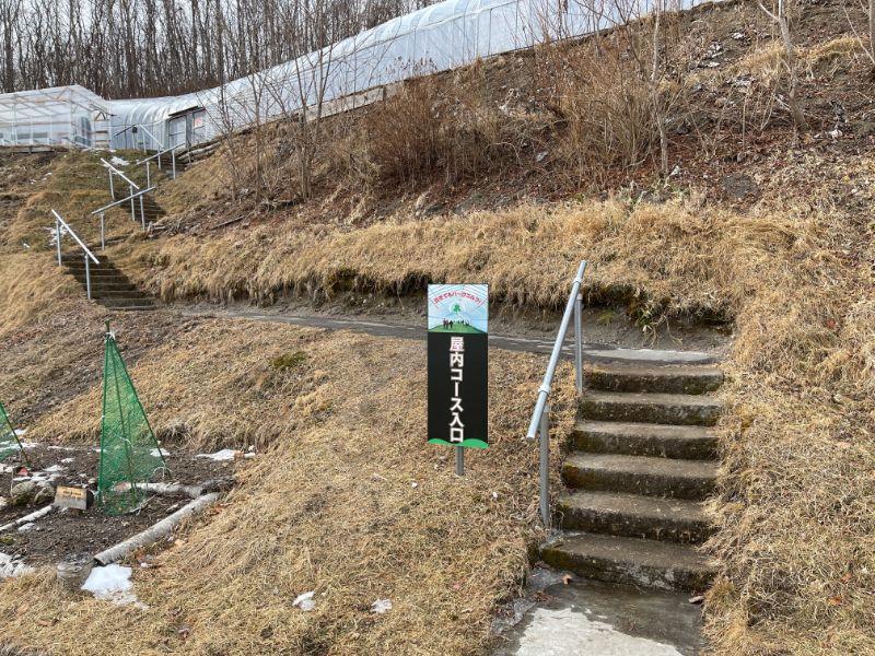 糸井の森パークゴルフ場 屋内コース入口へ続く階段の風景