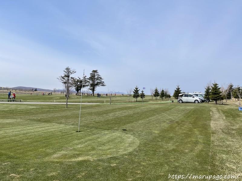 輪厚国際パークゴルフ場 芝生の状態 春