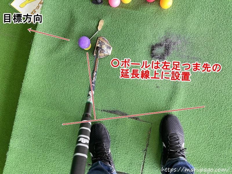 ボールは左足つま先の延長線上に設置したままオープンスタンスに構える