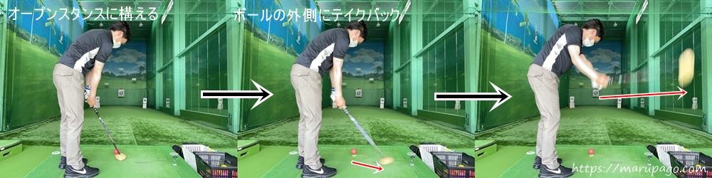 パークゴルフ 上げ球の打ち方 アウトサイドインスイング