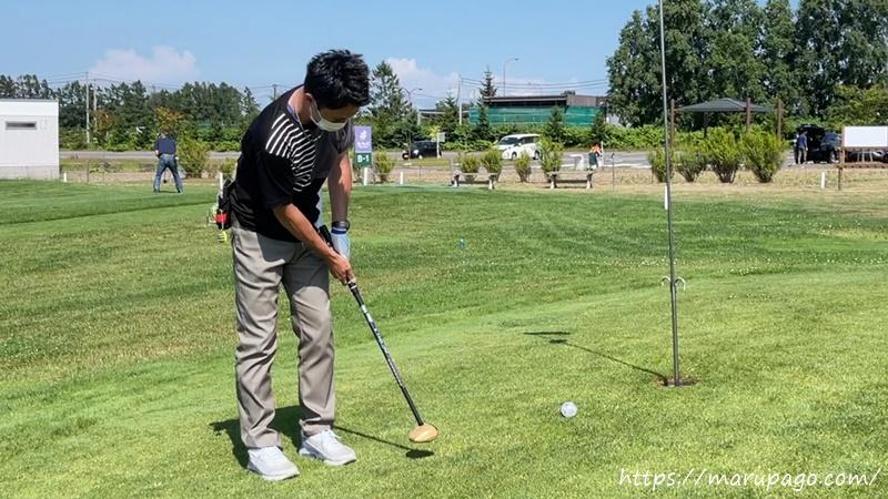 パークゴルフ パッティングのコツはグリップエンドを引く動き