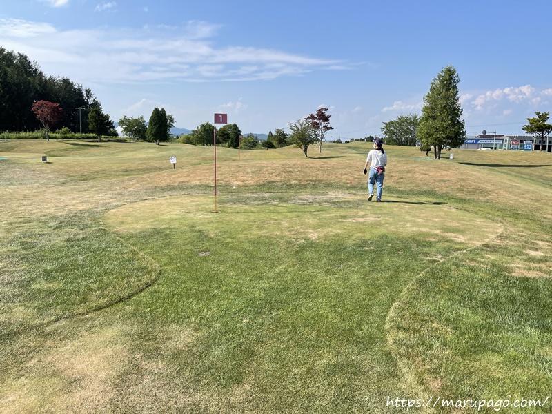 三川パークゴルフクラブ グリーン手前が狭くなっている